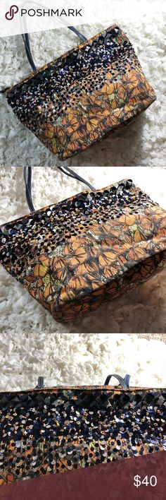 Jasper & Jeera Anthropologie Mariposa Tote Shows signs of wear: some missing beads, handle wear, interior marks, missing shoulder strap. Still fully functional and a beautiful bag. Anthropologie Bags Totes