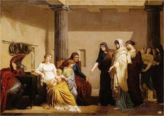 Roman Ladies begging Cornelia mother of the Gracchi. Age Of Enlightenment, French Revolution, Italian Renaissance, Old Master, Oil On Canvas, Lady, Musée National, Image, Beauty