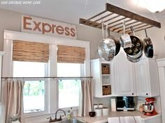 An old ladder makes an awesome pot rack!