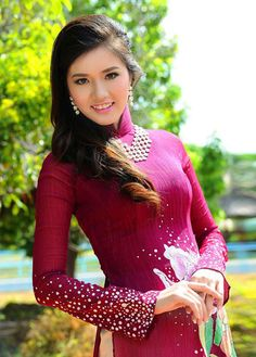 Ao dai with statement necklace.