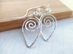 Silver Spiral Earrings Modern Earrings Customized Swarovski Hammered Silver Wire Wrap Earrings Wire Wrapped Jewelry Gifts Under 20