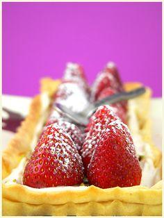 Strawberry Tart on Pink Background