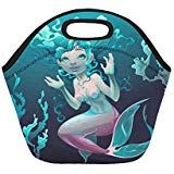 Young Mermaid In The Sea Insulated Lunch Tote Bag Reusable Neoprene Cooler Portable Lunchbox Handbag For Men Women Adult Kids Boys Girls Insulated Lunch Tote, Lunch Tote Bag, Handbags For Men, Kids Boys, Boy Or Girl, Lunch Box, Mermaid, Sea, Girls