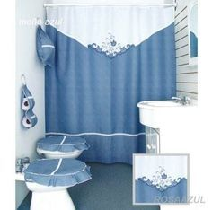 cortinas de baño bordadas en cinta paso a paso - Buscar con Google Bathroom Crafts, Bathroom Sets, Bathroom Accessories, Home Accessories, Curtains And Draperies, Christmas Wood, Diy Storage, Couture, Decoration