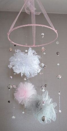 Pink/gray beaded mobile baby girl mobile by BigCheeksBoutique