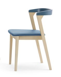 The Luna CT Collection from Sandler Seating. Luna CT 1.1 with natural Beech frame and blue detailing and upholstered seat. Stackable side chair with upholstered seat option, and frame and back in two color combinations, natural beech or lacquered.