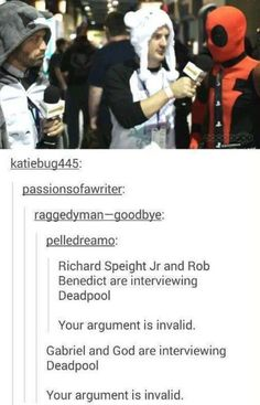 Gabriel and God are interviewing Deadpool. Your argument is invalid. #Supernatural #tumblr