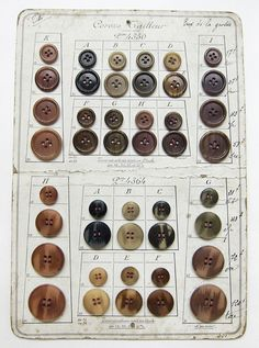 buttons on an old manufacturers card for show and tell to customers or for us in the factory.CeliaBedelia