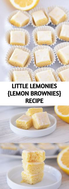 """The most amazing little lemon """"brownies"""" - these little lemonies are soft and a little chewy with bright, delicious lemon flavor! Lemon Desserts, Summer Desserts, Easy Desserts, Delicious Desserts, Yummy Food, Brownie Recipes, Cookie Recipes, Dessert Recipes, Recipe For Mom"""