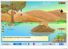 El camaleón y las moscas (Juego de Probabilidad) English Games, Math Numbers, Chameleon, Education, Maths, Ideas Para, Teacher, Tela, Probability Games