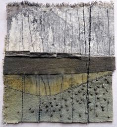Check the link to Debbie's website to see loads of glorious pieces - Marshscape Collage Cotton duck, linen, wax, metal by Debbie Lyddon - this rugged landscape is a perfect example of an empty space. Textile Fiber Art, Textile Artists, Abstract Landscape, Abstract Art, Landscape Design, Creative Textiles, Encaustic Art, Mixed Media Collage, Collage Artwork