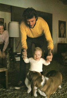 Clint Eastwood at home with his son Kyle, c. 1969.