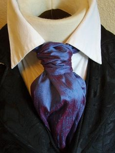 Ascot Tie Cravat Necktie Neckwear DUPIONI SILK Blue Raspberry. $26.00, via Etsy.