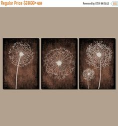 dandelion wall art flower brown beige custom colors by trmdesign