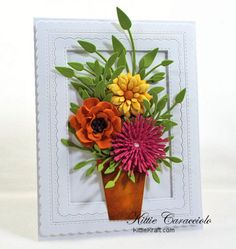 Come and see how I made this die cut summer flower pot card.    Card Making Ideas | Paper Crafts | Handmade Greeting Cards | Scene Cards | Flower Cards. Click on the picture if you would like to see how I made this card.