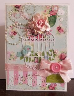 shabby chic birdcage and bird handmade card
