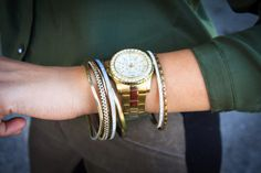 stylishlyinlove.blogspot.com Guess gold watch and bangles