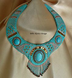 Bead Embroidery Necklace Collar  Turquoise Bronze Peach - Bead Embroidered OOAK. $325.00, via Etsy.