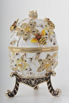 Gorgeous ~Keren Kopal's White Faberge Egg Handmade Decorated by KerenKopal :):