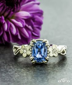 Sapphire Floral Engagement Ring #GreenLakeJewelry