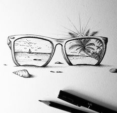 Grant Abernathy (@abz_fineart) gives us a great #tropical #oceanview in this #blackandwhite #pendrawing.  It's currently rainy and chilly where I am so I'm glad that I saved this piece to write about until now. As I peer into the depths of the sunglasses and glimpse the gentle waves sandy beach and palm fronds beyond the rims I can almost feel the sun on my face and smell the salt spray in the air.  At the same time though I appreciate the perspective of this illustration as we are…