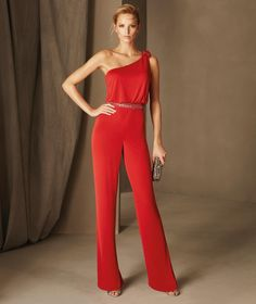 Berlin - Straight cocktail jumpsuit with an asymmetric neckline in knit