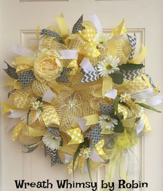 Soft Yellow and Gray Spring/Summer Floral Daisy Deco Mesh Wreath, Mother's Day Gift, Housewarming Gift, Baby Nursery by WreathWhimsybyRobin on Etsy
