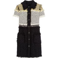 Lanvin Fringed bouclé-tweed mini dress ($3,385) ❤ liked on Polyvore featuring dresses, black, special occasion short dresses, cocktail mini dress, mini dress, fringe cocktail dress and short black dresses