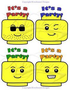 Lego Head Party Invitations