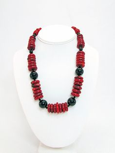 Coral  and Black Fossil Necklace  C2 by daksdesigns on Etsy