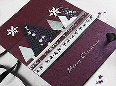 """Christmas Card """"Night Purple Xmas Trees"""""""