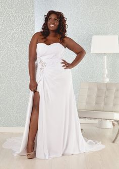 Plus Size Wedding Dress Chiffon Sweetheart Neckline Corset Back With Sexy High Slit Via