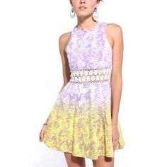 AKIRA Lace Waist Ombre Dress In Lavender ($45) ❤ liked on Polyvore
