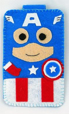 Hero collection Handmade Captain America iphone, iphone 4S felt cell phone case (FREE SHIPPING). $18.00, via Etsy.