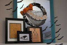 52 Mantels: Batty Turquoise & Orange Halloween Mantel