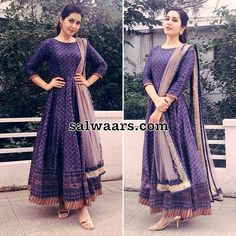 Rashi Khanna Brasso Anarkali Salwar Kameez is part of Party wear indian dresses - South Indian actress Rashi Khanna wearing anarkali floor length salwar kameez with long sleeves, stripes silk border and plain net designer duppatta Salwar Designs, Kurta Designs Women, Kurti Designs Party Wear, Saree Blouse Designs, Dress Designs, Designer Salwar Kameez, Designer Anarkali Dresses, Designer Dresses, Long Gown Dress