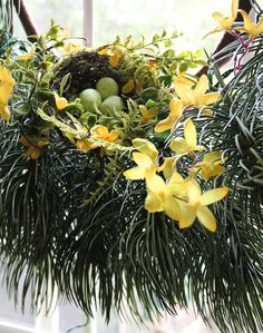 Faux forsythia branches and a charming little nest sitting on an evergreen wreath.