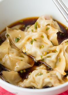 Steamed Pork Dumplings with a Scallion Dipping Sauce . saved this just for the dipping sauce haha Wonton Recipes, Pork Recipes, Asian Recipes, Appetizer Recipes, Cooking Recipes, Appetizers, Family Recipes, Vegetarian Recipes, Steamed Pork Dumplings