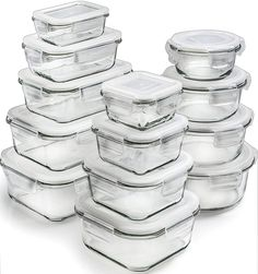 Glass Storage Containers with Lids - Glass Food Storage Containers Airtight - Glass Containers with Lids - Glass Meal Prep Containers Glass Food Containers by Prep Naturals Glass Containers With Lids, Meal Prep Containers, Food Storage Containers, Kitchen Utensils, Kitchen Tools, Kitchen Gadgets, Kitchen Dining, Laundry Room Storage, Kitchen Storage