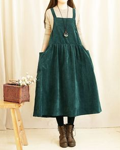 I really like this one. Green, with pockets! and a suspender-like dress. :D - womenstyle Mori Fashion, Modest Fashion, Hijab Fashion, Fashion Dresses, Fashion Looks, Womens Fashion, Japanese Fashion, Korean Fashion, Pretty Outfits