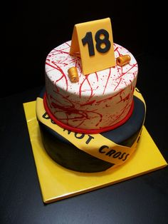 CSI crime scene cake-By The Mad Platters