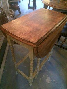 Small Vintage Drop Leaf Table. Base Painted In Annie Sloanu0027s Versaillesu2026