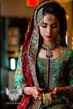 shaadi fashion : Photo | turquoise baraat dress with red dupatta | great pose for bridal shoot | os photography | south Asian weddings