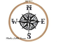 Compass Rose Cross Stitch Pattern by plasticlittlecovers on Etsy, £1.50. -- you could do you own pillows with the cross stitch pattern options.