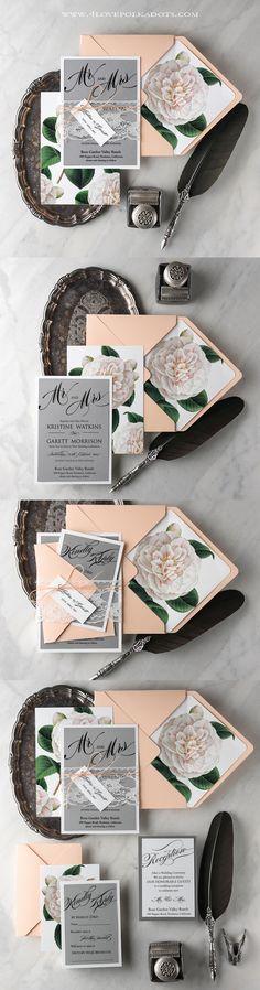 Floral Botanical Wedding Invitations - Peach & Gray #weddingideas #vintage #romantic
