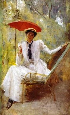 paintings of Lady with a Parasol by Tom Roberts.