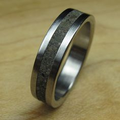 Concrete Titanium Wedding Rings with Carbon Fiber Ring Inlay