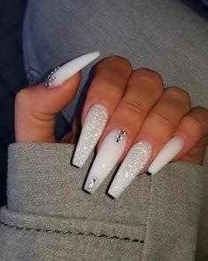If you have problem with long nails, then try Acrylic Nails or artificial nails. Listed below are the Best Acrylic Nails Ideas for 2019 to take inspiration. White Coffin Nails, Coffin Nails Long, Coffin Nails Glitter, Long Gel Nails, Powder Glitter Nails, Stiletto Nail Art, Short Nails, Polygel Nails, Swag Nails