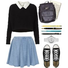 studious by breakers on Polyvore featuring Topshop, American Apparel, Toy Watch, Converse, HOMMAGE, Dixon Ticonderoga, Pentel, women's clothing, women's fashion and women