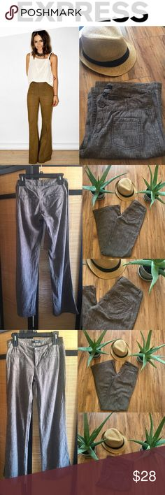 ⚜️EXPRESS LINEN BLEND PANT ⚜️ EXPRESS Size 0 Pretty brownish colored wide leg pant from Express. These are 55% linen 45% cotton.   Women's Flat Front Linen Blend,Perfect for Spring & Summer. Loved wearing sailing ⛵️ or beach'n☀️. One of My fav pants!! Sadly they don't fit anymore. Express Pants Wide Leg